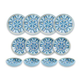Hubler Medallion 12 Piece Melamine Dinnerware Set, Service for 4