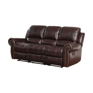 Barnsdale Leather Reclining Round Arms Sofa
