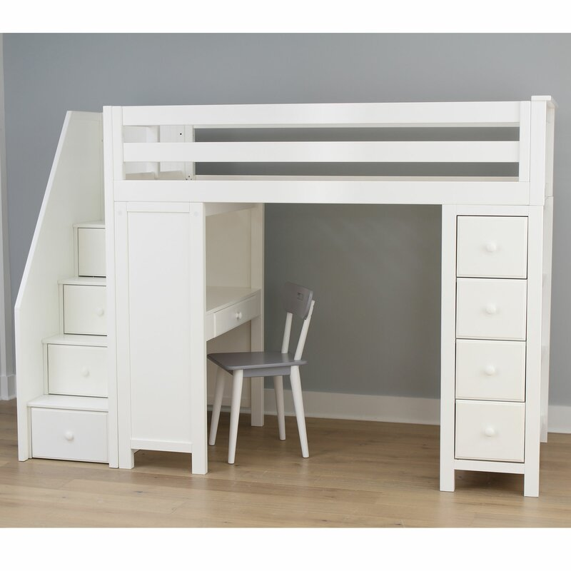 Harriet Bee Deshotel Twin Loft Bed With Drawers And Shelves
