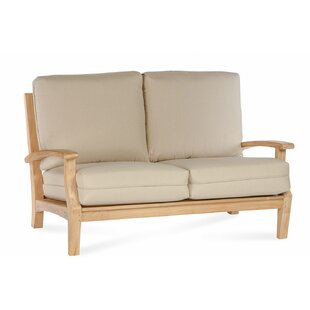 Boyle Teak Loveseat with Sunbrella Cushion by Rosecliff Heights