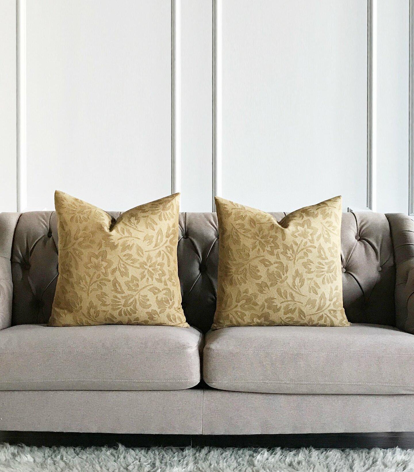 Winston Porter Hannigan Floral Jacquard Luxury Woven Decorative Pillow Cover