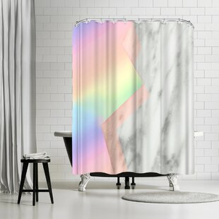 Emanuela Carratoni Unicorn Marble Shower Curtain