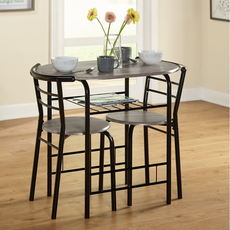 Volmer 3 Piece Compact Dining Set