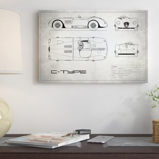 'Jaguar C-Type' Graphic Art Print on Canvas in Vintage Silver ByEast Urban Home
