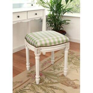 Plaid Upholstered Vanity Stool