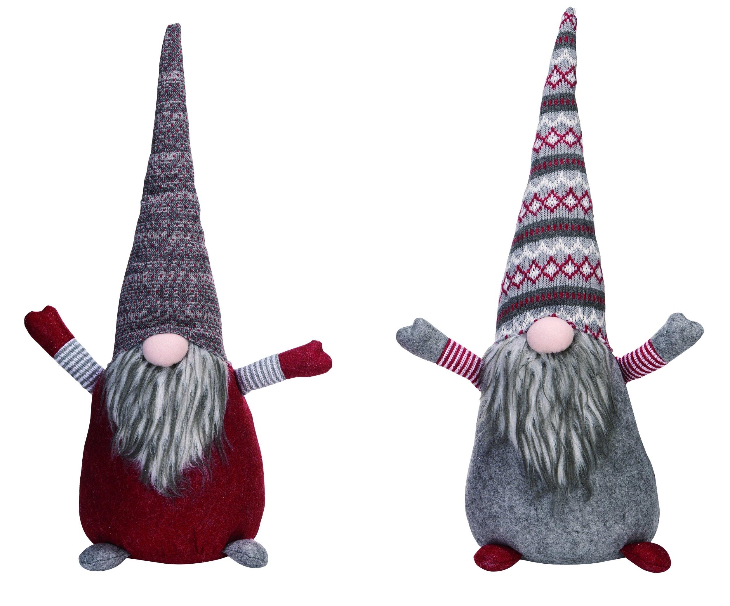 Transpac Nostalgia Christmas Plush Gnome Fabric 2 Piece Weighted Floor Stop Set Wayfair