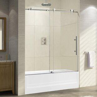 Compare prices 60 x 62 Single Sliding Frameless Shower Door ByWoodBridge