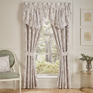 Nellie Pole Top Drapery Floral Curtain Panels (Set Of 2)