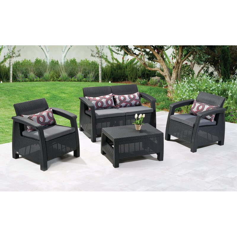 Berard 4 Piece Rattan Sofa Set With Cushions Reviews Allmodern