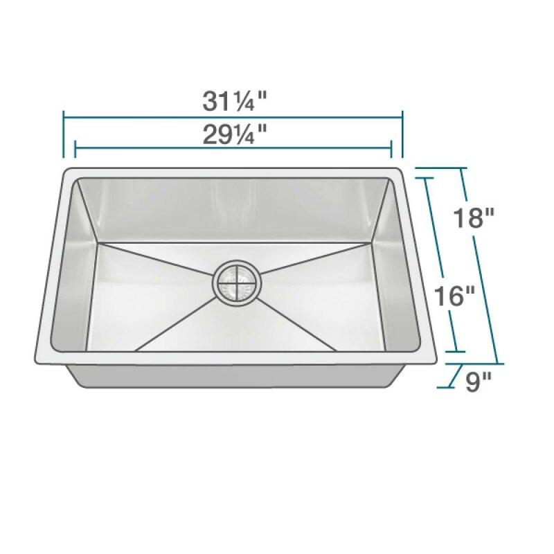 stainless steel 31   x 18   single undermount kitchen sink mrdirect stainless steel 31   x 18   single undermount kitchen sink      rh   wayfair com