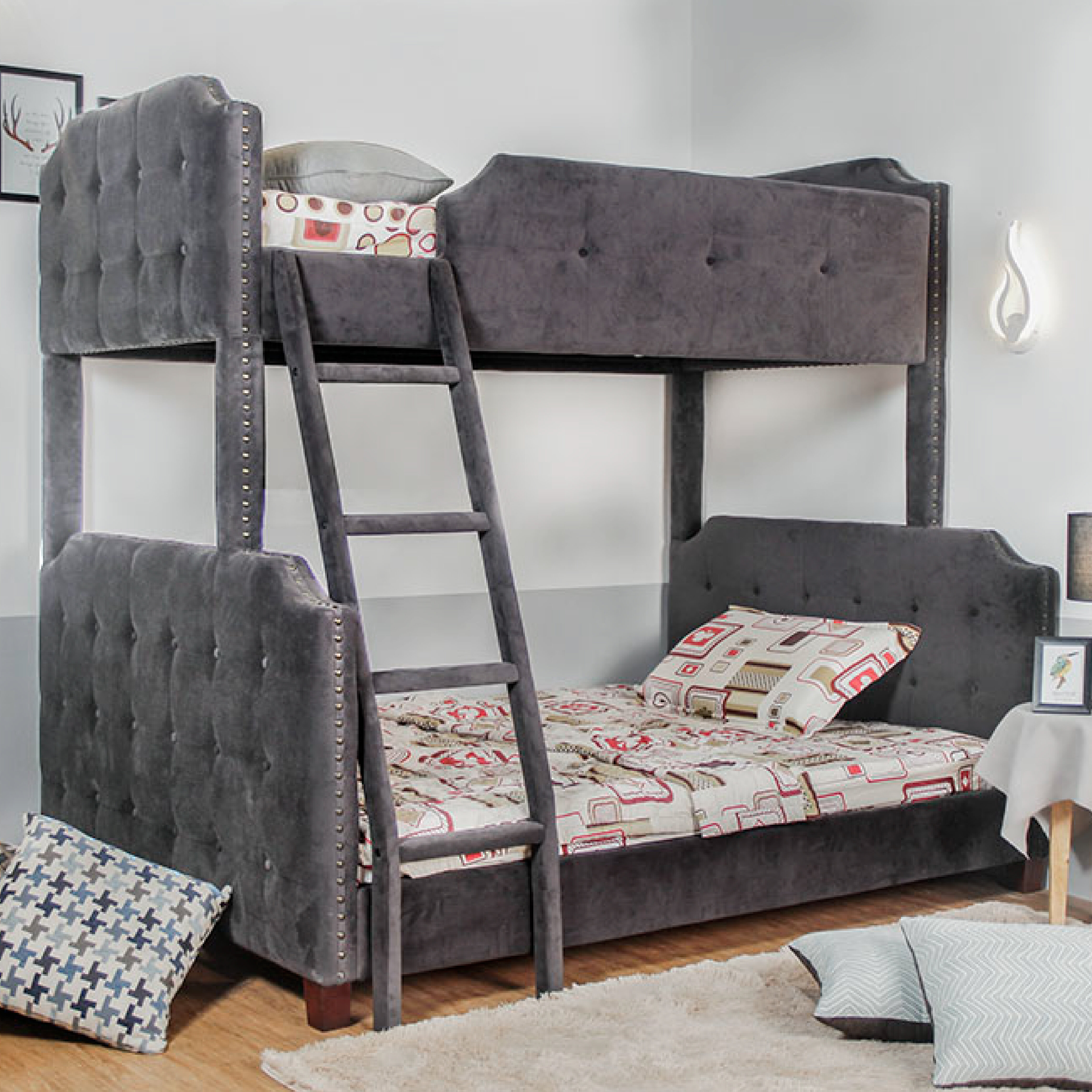 Darby Home Co Mcintire Twin Over Full Upholstered Bunk Bed Reviews Wayfair
