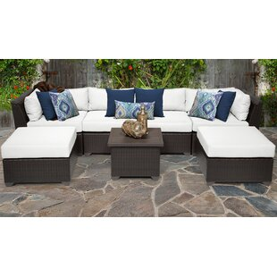 TK Classics Barbados 7 Piece Rattan Sectional Set with Cushions