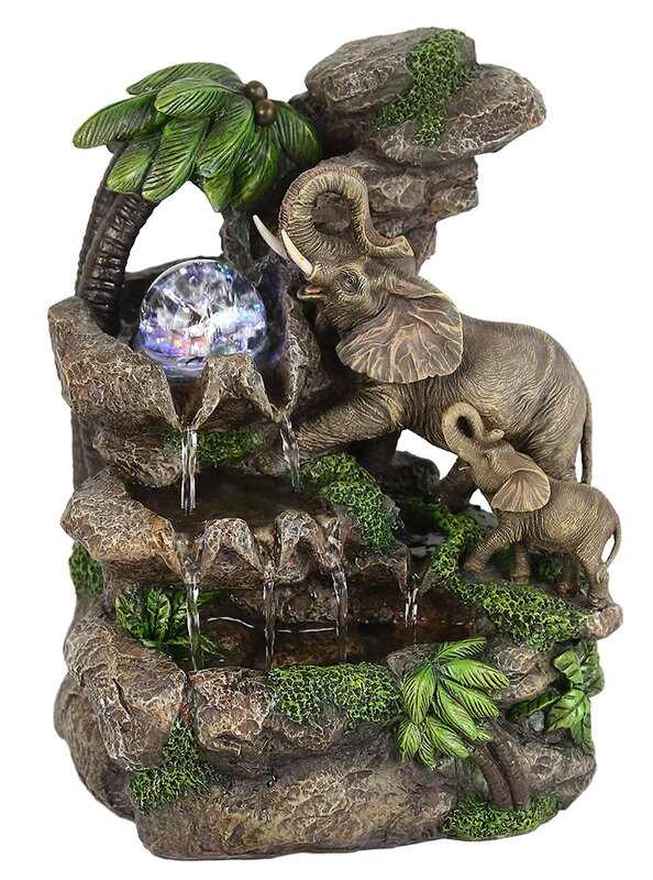 Polyresin Elephant Table Fountain With LED Light