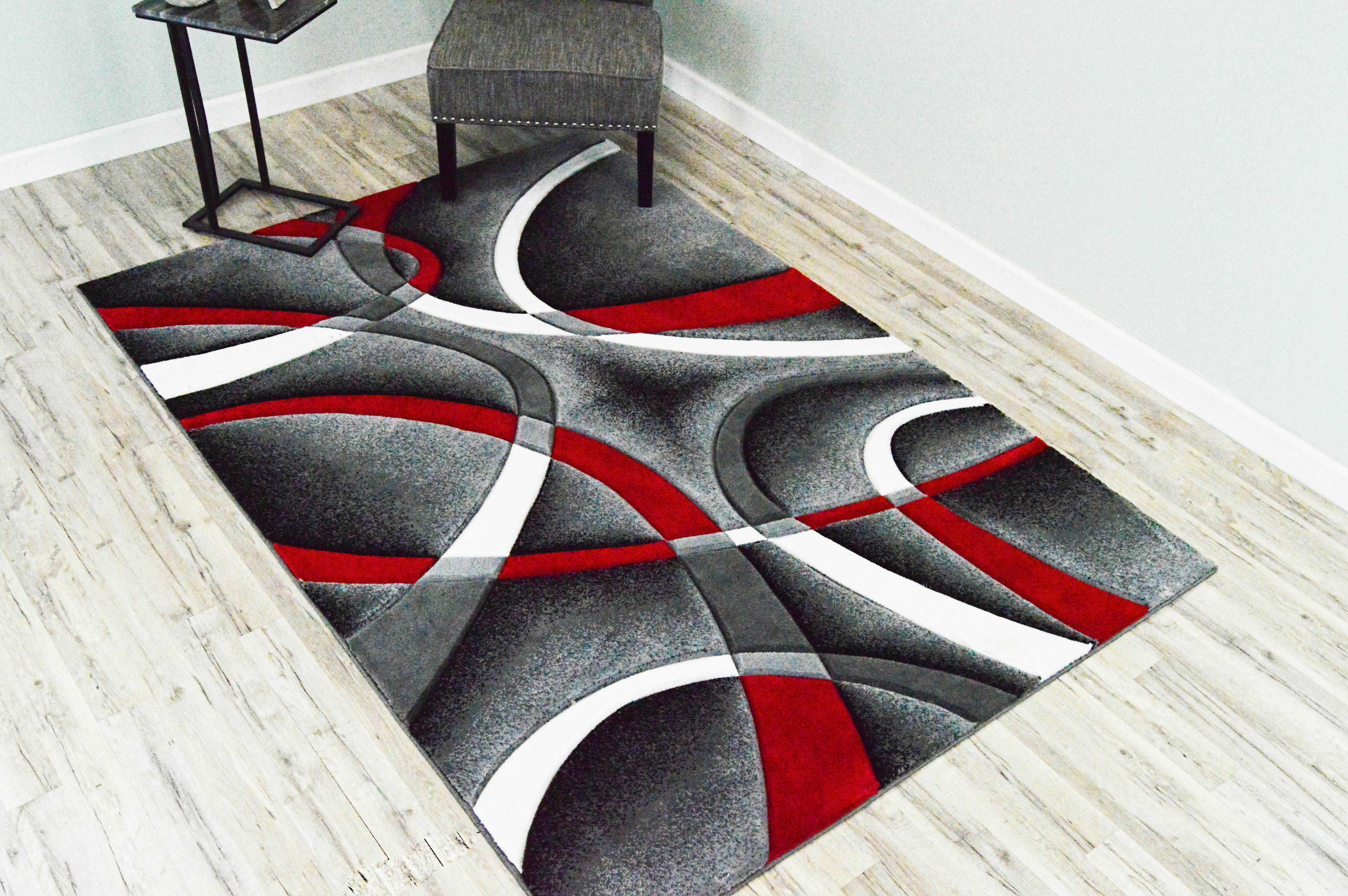 Ivy Bronx Mccampbell Abstract Gray Red Area Rug Reviews Wayfair