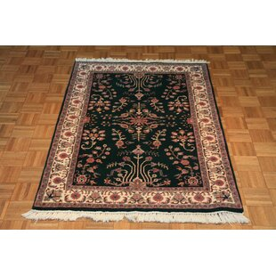 One-of-a-Kind Benally Hand-Knotted Silk Green Area Rug Isabelline