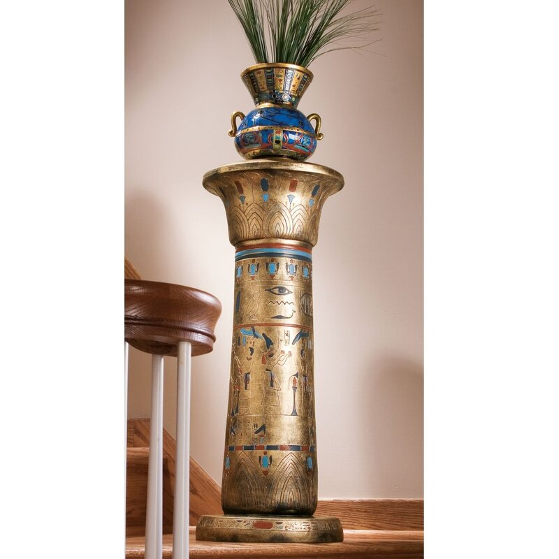 Design Toscano Egyptian Kings Pedestal Plant Stand Reviews Wayfair - Column pedestal plant stand
