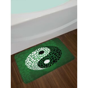 Digital Ying Yang Symbol Form Nature Zen Themed Meditation Dots Print Non-Slip Plush Bath Rug