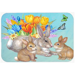 Bunny Family Easter Rabbit Glass Cutting Board