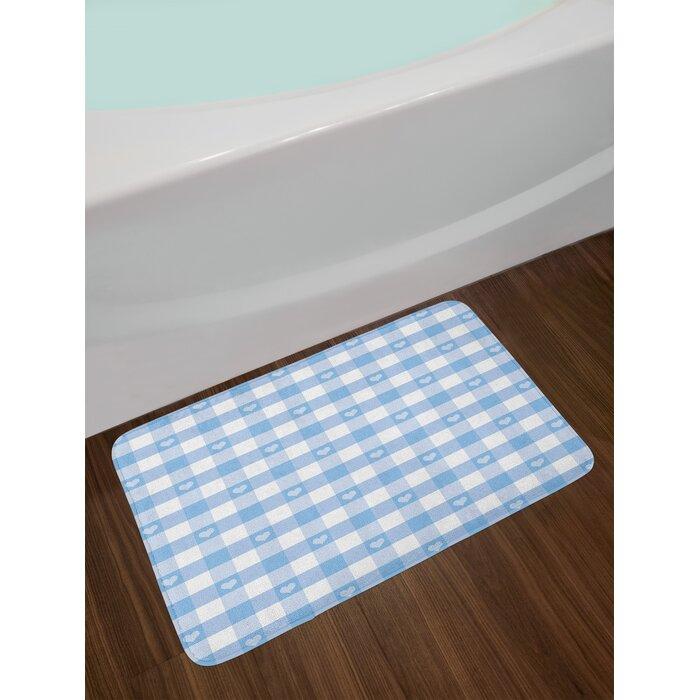 Gingham Pale Blue White Checkered Bath Rug