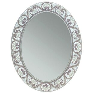 Earthtone Mosaic Accent Bathroom/Vanity Wall Mirror By World Menagerie
