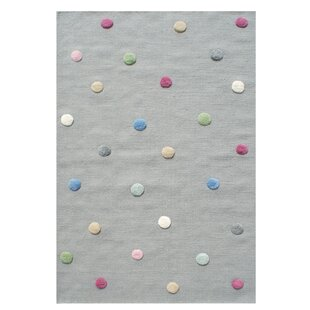 Colour Dots Handwoven Wool Grey Rug by Livone