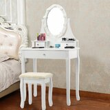 Narelle 3 Drawer Makeup Vanity Set with Mirror by Astoria Grand