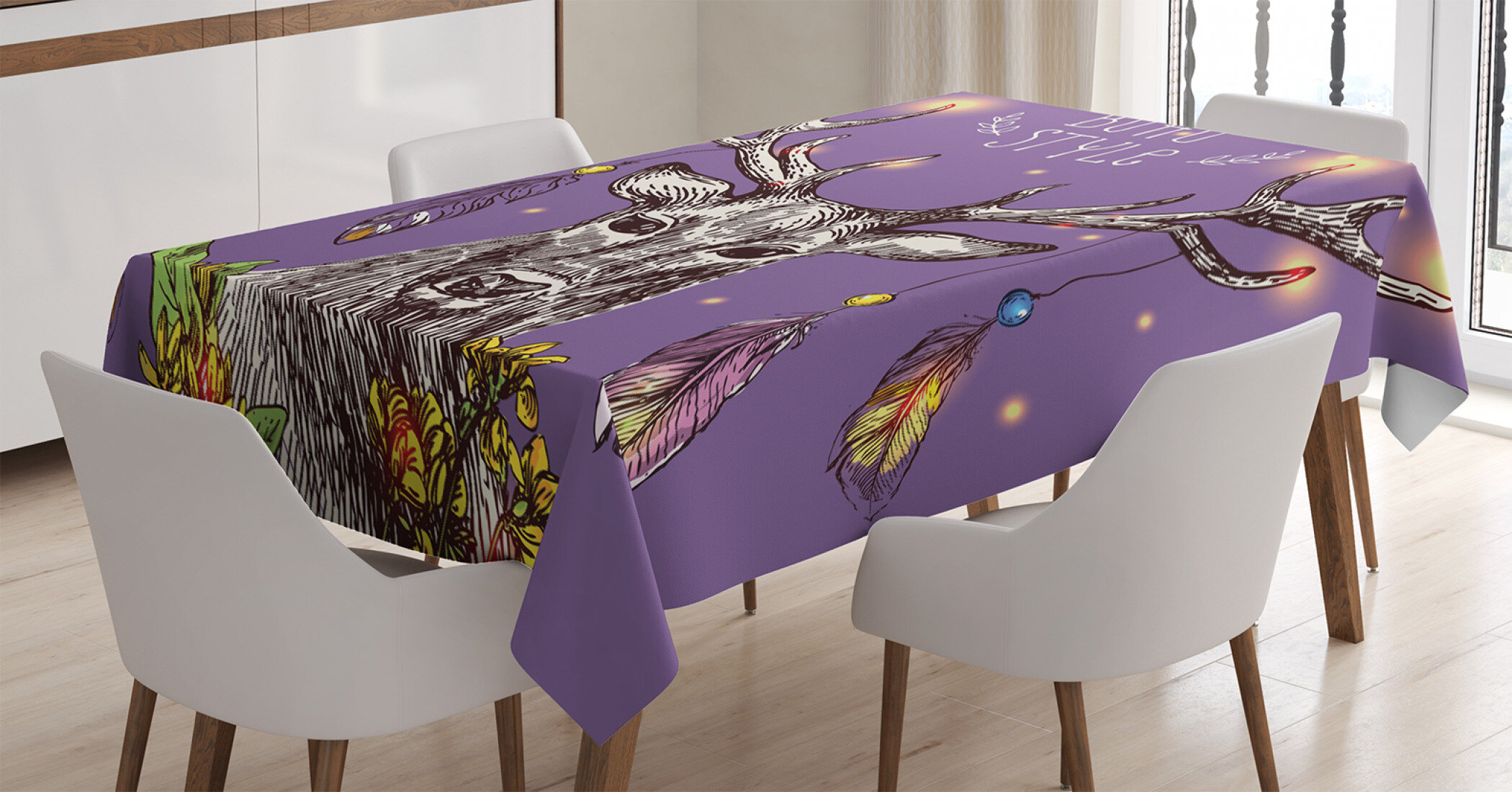 East Urban Home Ambesonne Boho Tablecloth Boho Hand Drawn Rein Deer With Gypsy Fashioned Elements On Antlers Unique Wild Creature Rectangular Table Cover For Dining Room Kitchen Decor 60 X 90 Purple Wayfair