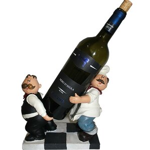 Chef and Waiter Polyresin 1 Bottle Tabletop Wine Bottle Rack by ESSENTIAL D?COR & BEYOND, INC