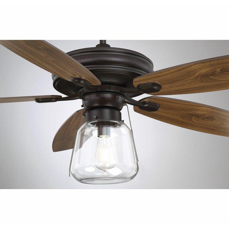 Gracie Oaks 1 Light Ceiling Fan Globe