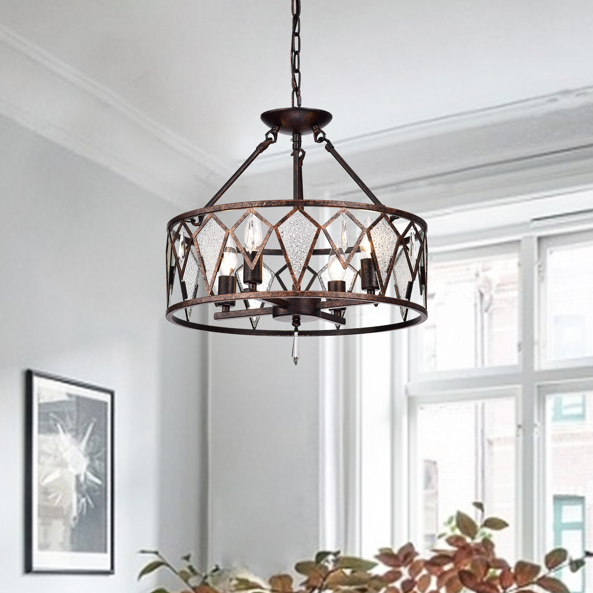 Mistana Cy 4 Light Drum Chandelier With Crystal Accents Reviews Wayfair