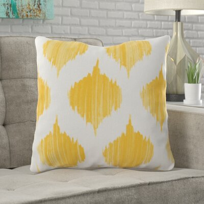 Wrought Studio Watson 100% Cotton Throw Pillow Size: 18 H x 18 W x 4 D, Color: Yellow, Filler: Polyester