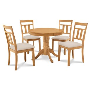 Cedarville 5 Piece Carved Solid Wood Dining Set by Alcott Hill