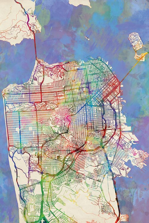 East Urban Home Urban Rainbow Street Map Series: San Francisco ...