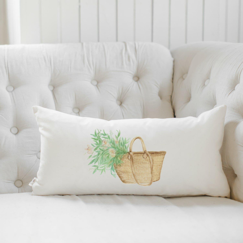 Pcb Home Market Basket Flowers Watercolor Cotton Lumbar Pillow Cover Wayfair