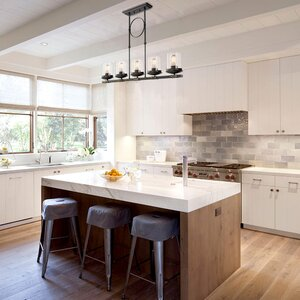 Pendant lights youll love wayfair dennis retro kitchen linear island pendant lighting clear glass shade black finish mozeypictures Choice Image