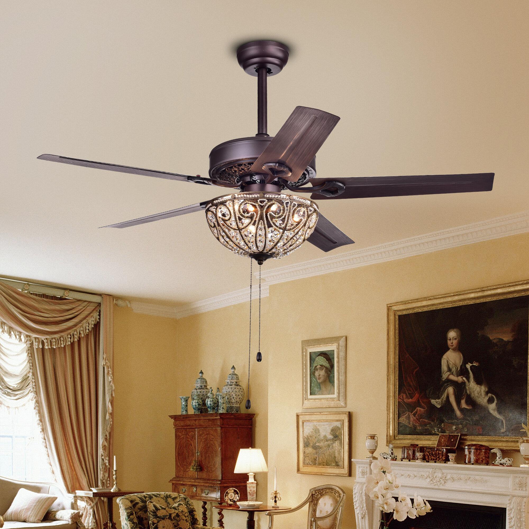 Astoria Grand Aspen 5 Blade Crystal Light Ceiling Fan & Reviews