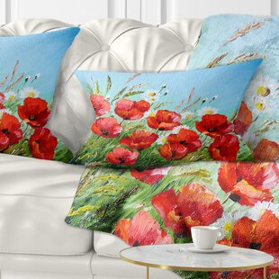 Floral Poppies in Field against Sky Lumbar Pillow