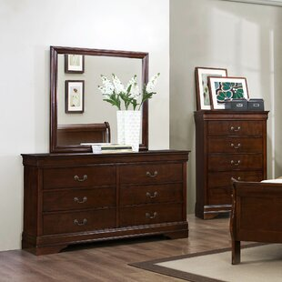 Polk 6 Drawer Double Dresser with Mirror