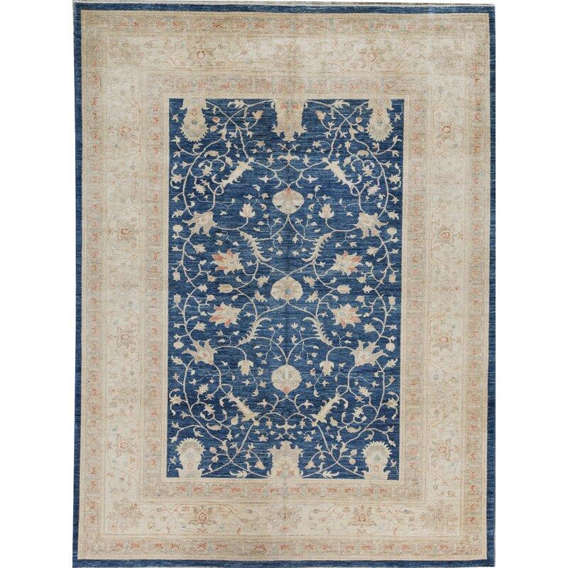 Bokara Rug Co Inc Ziegler Oriental Hand Knotted Wool Blue Beige Area Rug Wayfair