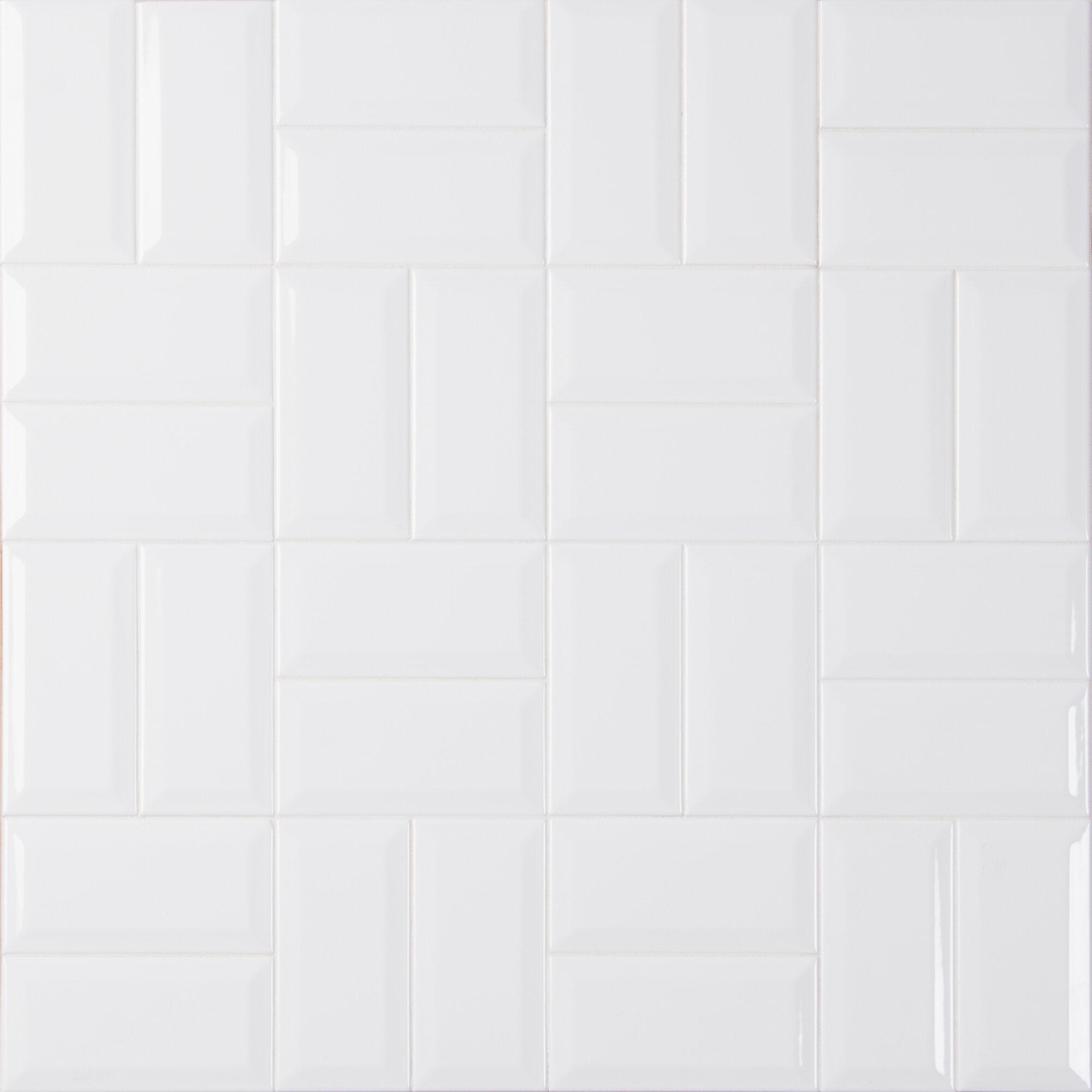 Sample Nantucket Beige 2 x 20 Crackled Ceramic Subway Backsplash Tile