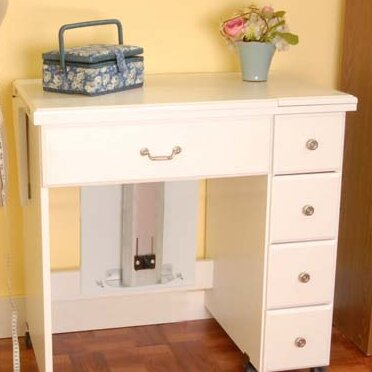 Auntie Laminate Sewing Table Arrow Sewing Cabinets Frame Color: White