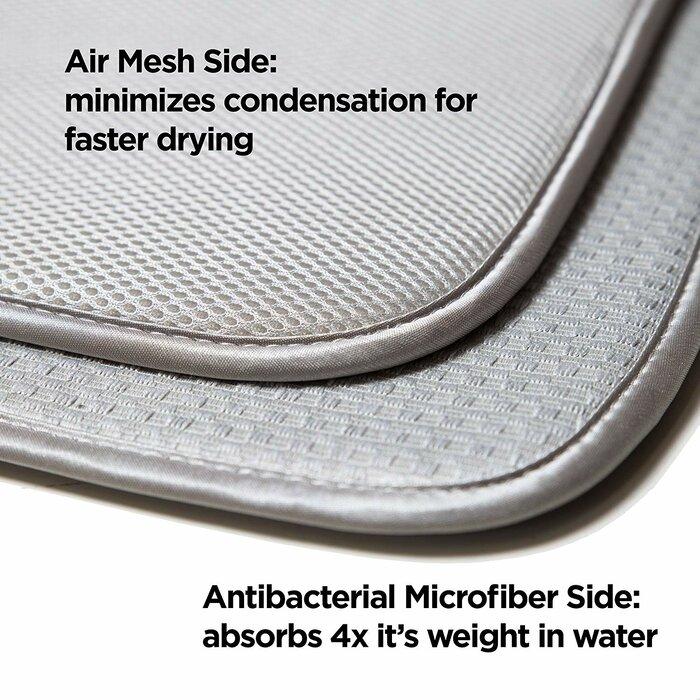 Microfiber Dish Drying Mat Set 2 Green Grid Pattern Medium Large Reversible NEW