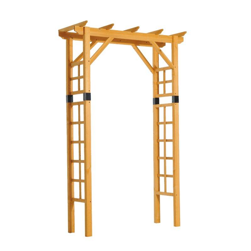 outsunny garden arch trellis wood arbor reviews wayfair