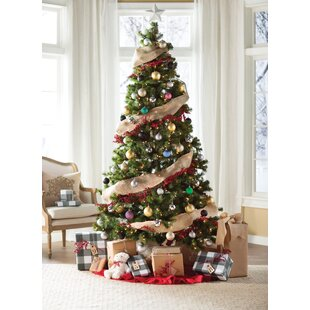 Green Fir Artificial Christmas Tree with Clear Lights Trees Sale You\u0027ll Love | Wayfair