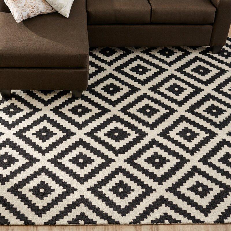 Kelly Black U0026 Cream Geometric Wool Hand Tufted Area Rug