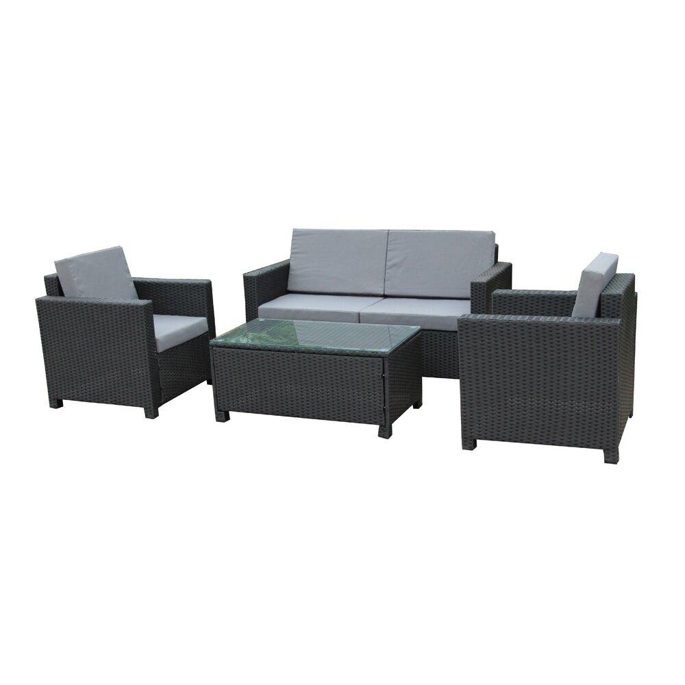 Wrought Studio Cross Wicker Indoor Outdoor Comfortable 4 Piece Rattan Sofa Seating Group With Cushions Wayfair