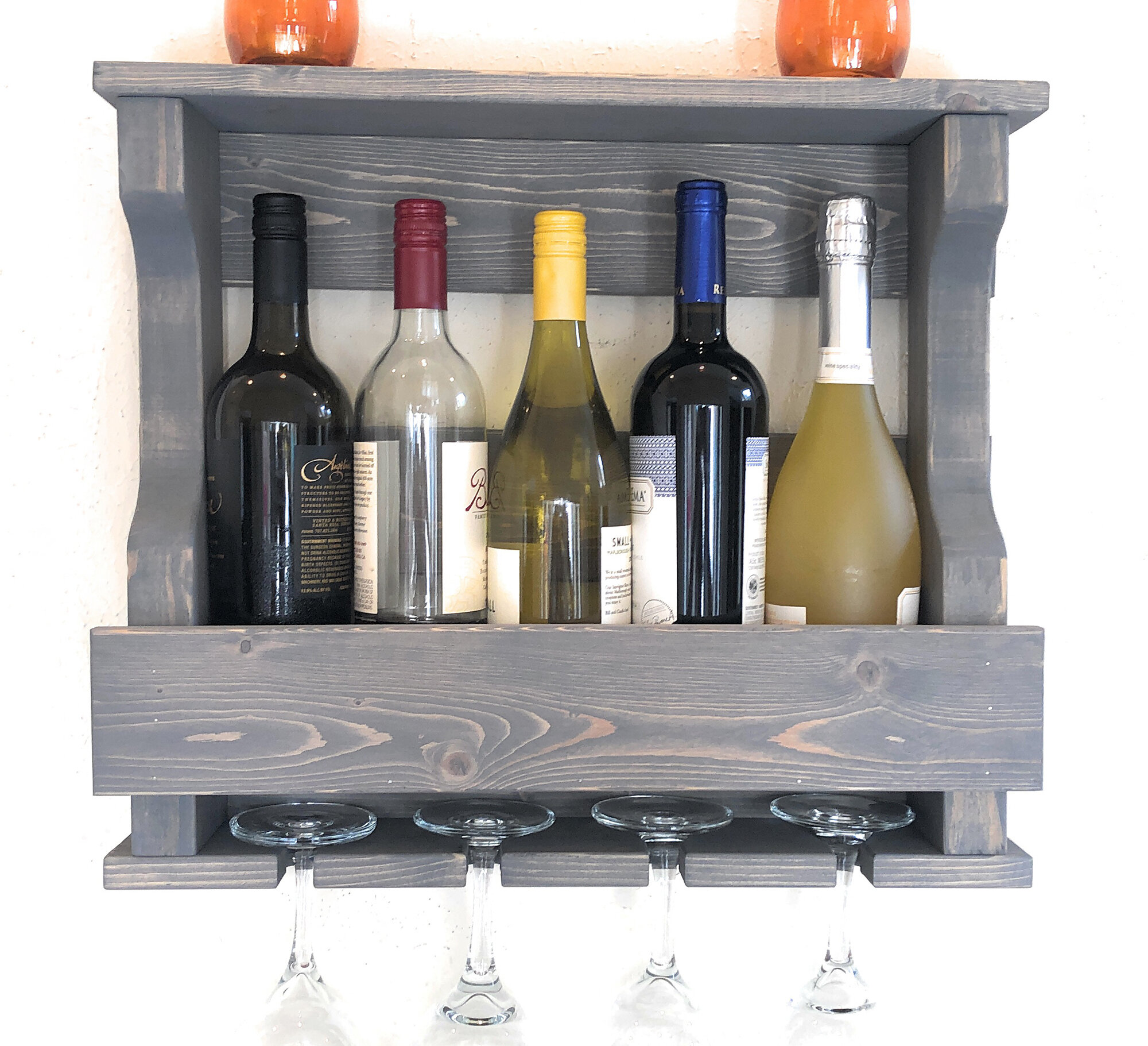 Millwood Pines Neema 5 Bottle Wall Mounted Wine Bottle And Glass Rack Reviews Wayfair
