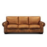 Ozzy Genuine Leather 92'' Rolled Arm Sofa by Charlton Home®