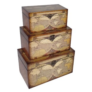 Cheungs 3 Piece Small Trunk with Expeditionary Map Design Set