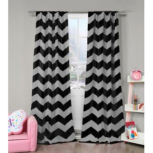 Bea Chevron Blackout Rod Pocket Curtain Panels (Set of 2)